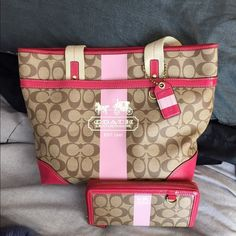 Coach Authentic bag and wallet Pink Heritage. Coach bag and wallet. Excellent condition as shown in pictures. Great for Spring and Summer. With dust bag. Coach Bags