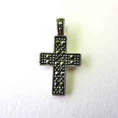 Vintage Marcasite Cross - Sterling Silver - 925 - Pendant - Necklace by stateandmainvintage on Etsy