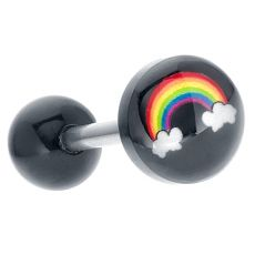 Multicolor Acrylic Rainbow logo Tongue Ring Barbell | Cute and colorful, this acrylic tongue ring plays up the bright side. A six colored rainbow and white clouds pop against black acrylic for super color and shine. This acrylic tongue ring is lightweight and easy to wear. The tongue ring's acrylic material and stainless steel barbell also provide for your safety and comfort for everyday wear.