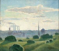 GRANT WOOD (American 1892-1942) Industrial Landscape - View from Van Vechten Park-Cedar Rapids, IA 1931, oil on board, signed lower right and dated 1931. 13 inches x 15 inches.Provenance: Sotheby's Chicago Exhibited: Cedar Rapids Art Association circa 1931 Literature: Joseph S. Czestochowski, Marvin D. Cone and Grant Wood An American Tradition, Cedar Rapids, IA, 1990, page 210 illustrates the offered lot in a vintage photo depicting works by Grant Wood & Marvin Cone on exhibition circa 1931.