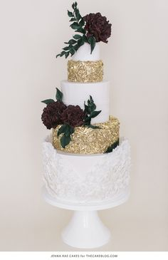 2015 Wedding Cake Trends | including this gold & marsala sequin cake by Jenna Rae Cakes | on TheCakeBlog.com