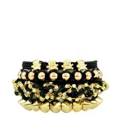 Conjunto com 4 Pulseiras Dourado e Preto | Ligada na Moda