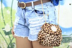 Look: Sing the Blues #animalprint #denim