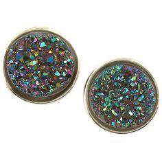 Dara Ettinger Stardust Small Druzy Stud Earrings (Stylist Pick!) ($67) ❤ liked on Polyvore featuring jewelry, earrings, accessories, post back earring, druzy jewelry, dara ettinger earrings, sparkle jewelry and druzy earrings