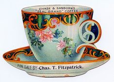 Vintage Clip Art - Cute Tea Cup Trade Card - The Graphics Fairy