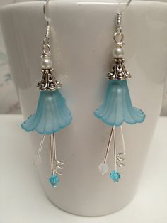 Blue+Flower+Earrings++Blue+Lucite+Flower+Earrings++by+LoveByLily,+$22.00