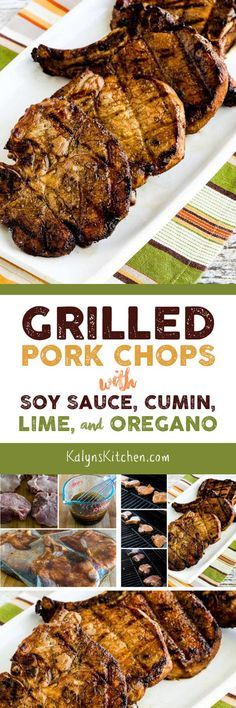These delicious Grilled Pork Chops with Soy Sauce, Cumin, Lime, and Oregano can marinate all day while you're at work. And these tasty por. Healthy Pork Recipes, Best Keto Meals, Veal Recipes, Fun Easy Recipes, Lamb Recipes, Entree Recipes, Pork Chop Recipes, Grilling Recipes, Cooking Recipes