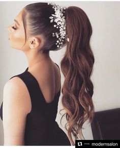 wedding hair ponytail modernsalon with get_repost If our girl arianagrande ever gets married, we have a feeling her hair will look Long Hair Wedding Styles, Wedding Hair And Makeup, Bridal Hair, Hair Makeup, Long Hair Styles, Ponytail Hairstyles, Bride Hairstyles, Hair Ponytail, Stylish Hair