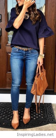 Navy top, jeans and brown accessories | Inspiring Ladies