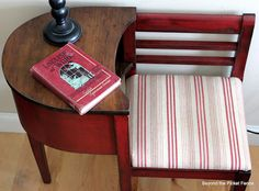 I have this gossip bench, with original finish. It belonged to my grandmother and has seen better days. Project - to reinforce the joints, reupholster and finish. I like the red finish contrast here. Woodworking Guide, Custom Woodworking, Woodworking Projects Plans, Furniture Projects, Furniture Makeover, Diy Furniture, Upcycled Furniture, Antique Furniture, Vintage Telephone Table