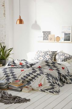 Aztec quilt cover l Copper light l Bohemian bedroom l White, grey and copper bedroom