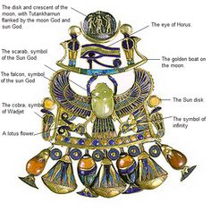 """The scarab at center is the result of super heated sand. This """"glass"""" came from an area of advanced ancient war technology. Winged Scarab Pendant of Tutankhamun from the tomb of Tutankhamun. Ancient Aliens, Ancient History, Collier Antique, Sun And Moon Necklace, Gold Necklace, Ancient Egyptian Jewelry, Egypt Jewelry, Egyptian Pharaohs, Egypt Art"""