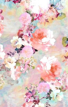 'Romantic Pink Teal Watercolor Chic Floral Pattern' iPhone Case by GirlyTrend - floral graphic borders - Wallpaper Wallpaper Pastel, Floral Wallpaper Phone, Pastel Background Wallpapers, Free Iphone Wallpaper, Iphone Background Wallpaper, Pretty Wallpapers, Flower Backgrounds, Flower Wallpaper, Floral Wallpapers