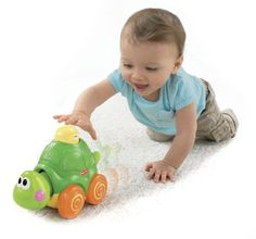 Fisher-Price Go Baby Go! Press And Crawl Turtle by Fisher-Price. $14.97. From the Manufacturer                A little turtle to press, a BIG turtle that rolls and moves, plus lots of fun surprises, action and sounds to reward baby! Requires 2 AA batteries. Press & go action: Helps develop gross motor skills, encouraging baby to crawl! Peek-a-boo fun: Head pops out as turtle is pressed, helping baby understand cause & effect. Silly sounds: Rewarding sounds & mus...