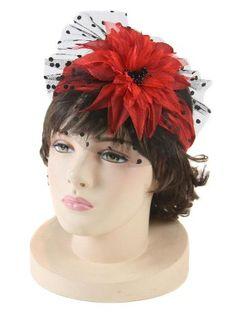 Red Flower and Pleated Taffeta Headband w/Black Netting