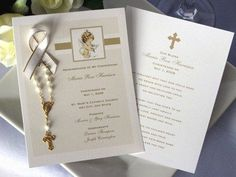 Baptism Christening Photo Remembrance Cards Mini Rosary Favors – Pavia