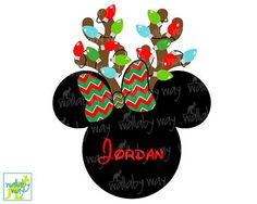 Minnie Reindeer with Christmas Lights & Chevron Bow Printable Iron on or use as clip art by TheWallabyWay - Perfect for Mickey's Very Merry Christmas Party - DIY Disney Shirt