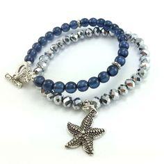 Bransoletka ze srebrnych kryształkó szklanych z charmsem rozgwiazdą i granatowych koralików szklanych. Diy Jewelry, Beaded Bracelets, Fashion, Bracelets, Crystals, Moda, Fashion Styles, Pearl Bracelets, Handmade Jewelry