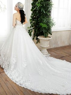 $299.00 Princess Tube Top Chapel Train Lace Wedding Dresses With Crystals  #Cheap #wedding #dresses #