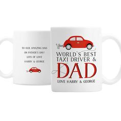 Personalised Worlds Best Taxi Driver Dad Mug - Happy Father's Day - Dads Taxi - Father's Day Gift - Daddy gift Birthday Gifts For Sister, Birthday Gifts For Girlfriend, Happy Fathers Day Dad, Fathers Day Gifts, Daddy Gifts, Gifts For Dad, Puppy Gifts, Personalized Bridesmaid Gifts, Dad Mug