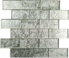 """Flicker Tile Folia Brick, 2"""" x 4"""", Pearl, Glossy, Silver, Glass"""