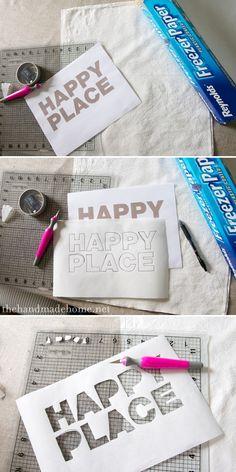 freezer paper stencil/iron on, fabric paint http://www.thehandmadehome.net/2012/05/diy-screen-print-pillows/