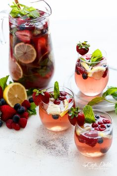 A beautiful and refreshing spin on a traditional sangria using a mixture of frozen berries for a full berry flavour, a simple to make strawberry syrup, and the sweet Italian tangy-sweet citrus from limoncello!   http://cafedelites.com