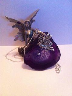 Purple agate slice necklace ( polished ) on Etsy, £23.51