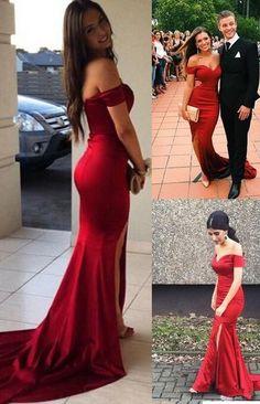 Red Prom Dress,Off the Shoulder Prom Dress,Mermaid Style Prom Dress,Satin Evening Dress,Sweetheart Prom Dress,Long Prom Dress,Prom Dress for Woman