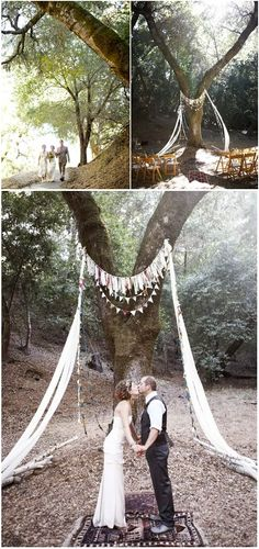 Wedding Canopy & Arches - Search for the perfect tree, hang a few lines of bunting and strips of drapes that will catch the outdoor breeze and voila!