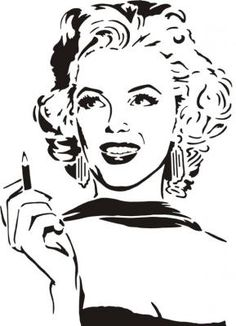 Marilyn Monroe Dibujo, Marylin Monroe, Pop Art Drawing, Art Drawings, Skull Stencil, Yoga Art, Scroll Saw Patterns, Silhouette Art, Human Art