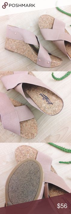 Lucky Brand Perforated Wedges, NWOT Cork wedges with gold flakes. Nude colored elastic straps. Never been worn, NWOT. Size 11. Lucky Brand Shoes Wedges