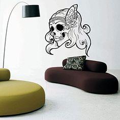 Wall Decal Vinyl Sticker Art Decor Sugar Scull Face Girl Rose Hair Skeleton V139 CreativeWallDecals http://www.amazon.com/dp/B00VA6Q4BW/ref=cm_sw_r_pi_dp_NG6fvb138KWSD