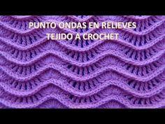 Punto a crochet N° 25 ondas en relieves para suéteres y cobijas de bebe paso a paso - YouTube