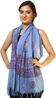Save $113.29 on Exotic India Blue Prayer Scarf with Om Namah Shivai Mantra - Blue; only $11.00 + Free Shipping