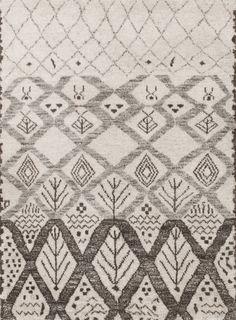 Alfombra Bereber. Alfombra anudada a mano inspirada en diseños tradicionales Bereber (Beni Ouarain). Su calidez y elegancia son obra de una cuidada selección de las mejores lanas.