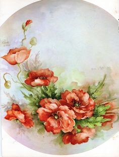 Poppies 13 by Sonie Ames China Painting Study 1967 | eBay Painted Plates, China Painting, Pictures To Paint, Painting Patterns, Vintage Roses, Floral Motif, Flower Designs, Poppies, Beautiful Flowers