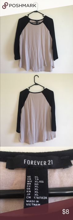 Black & Tan Forever 21 baseball tee No tags, but it has never been worn! Comfy, cute, and in great condition! Forever 21 Tops Tees - Long Sleeve