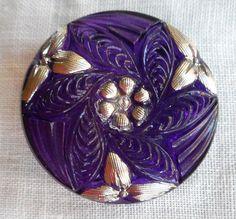 One 27mm Czech translucent glass button, purple pattern with platinum silver accents , decorative shank button C08201