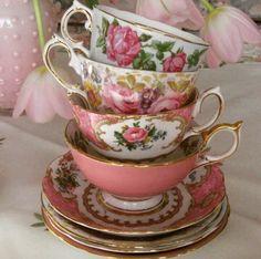 Pink floral teacups