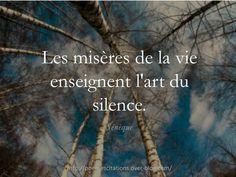 """""""Les misères de la vie enseignent l'art du silence."""" Sénèque"""