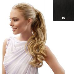 23 Inch Wrap Around Pony Extension By Jessica Simpson - R2 Ebony. 23 inches of heat-friendly synthetic hair. A long strip of wrap around hair securely connects with a velcro attachment. Create a show-stopping ponytail by adding in length, body and shine to your hair. Easy, do-it-yourself application. Hairdo's Tru2Life synthetic fiber can be styled with heat tools up to 350 degrees Fahrenheit for endless styling options.
