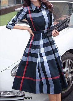 Plaid Long Sleeves A-line Knee Length Elegant Dresses - Dresses - veryvoga Source by aproudtexan Dresses Stylish Dresses, Elegant Dresses, Pretty Dresses, Casual Dresses, Sexy Dresses, Formal Dresses, Wedding Dresses, Pink Dresses, Awesome Dresses