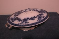 "Beautiful J G Meakin Flow Blue ""Hudson"" Covered Vegetable Bowl 1900 England 