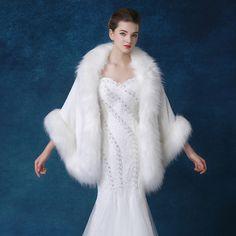 2017 Top Quality Winter Plus Size Faux Fur Bridal Cape White Wedding Fur Bolero Wrap Evening Party Shoulder Shawl Bolero Mariage