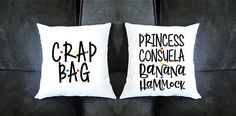 Princess Consuela Banana Hammock and Crap Bag Pillow Set- Housewarming gift, Anniversary Present, Newlyweds, His and Her Pillows - Gift Ideas Friends Episodes, Friends Series, Friends Show, Gifts For Friends, Cute Pillows, Diy Pillows, Roommate Gifts, Moving Gifts, Funny Couples