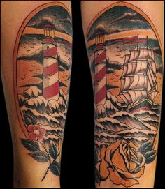 lighthouse and ship traditional tattoo Tattoo by Paulo da Butcher
