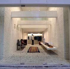 Visvim F.I.L. Hong Kong Retail Store Design, Retail Shop, Interior Architecture, Interior Design, Hotel Lobby, Store Fronts, Boutique, Visual Merchandising, Wall Design