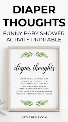 Funny Baby Shower Activity Diaper Thoughts Late Night Diapers Game Sign Printable Gender Neutral by LittleSizzle. Are you looking for a fun baby shower activity? Set up a Diaper Thoughts station with this Late Night Diapers baby shower sign. Guaranteed to be a huge hit! Display this Diaper Thoughts sign along with a stack of diapers and Sharpie markers. Each guest can draw something funny or write words of advice for the parents to read while they change baby's diaper. #funnybabyshoweractivities Baby Shower Fall, Baby Shower Signs, Gender Neutral Baby Shower, Baby Shower Themes, Shower Ideas, Fun Baby, Summer Baby, Baby Shower Activities, Shower Games
