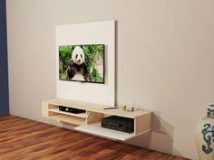 Meuble TV design suspendu Flow blanc mat ATYLIA prix Meuble TV Mural ...